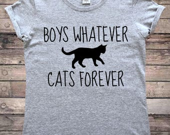 Boys Whatever Cats Forever Cute Cat Lady T-Shirt