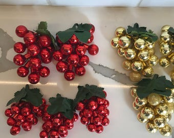 Christmas ornaments - Red - Gold - Grapes - Glass