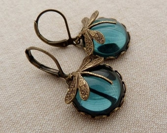 Ink moons . dragonflies earrings ink darkblue montana brass night summer fall round glass cabochon vintage boho