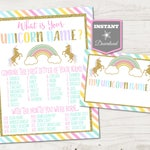 INSTANT DOWNLOAD Printable Unicorn 8x10 What's Your Unicorn Name Birthday Party Sign and Name Badges / Unicorns Collection / Item #3511