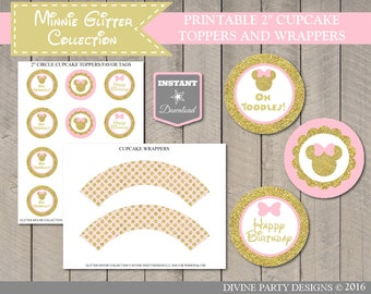 INSTANT DOWNLOAD Printable Glitter Pink and Gold Mouse