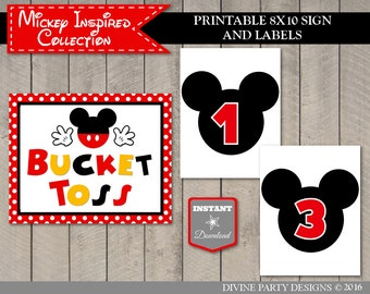 63f906294e9 INSTANT DOWNLOAD Classic Mouse 5x7 or 8x10 Bucket Toss Sign and Bucket  Labels  Birthday Party Game  Clubhouse Collection   Item  1569