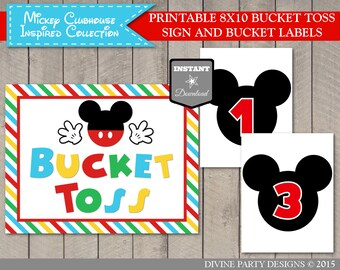 20647736e03 INSTANT DOWNLOAD Printable Mouse Clubhouse Bucket Toss Sign and Bucket  Lables  Birthday Party Game  Clubhouse Collection   Item  1608