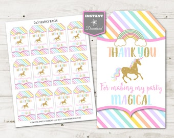INSTANT DOWNLOAD Unicorn Printable Thank You For Making My Party Magical Hang Tags Favors Glitter Unicorns Rainbows Item 3514