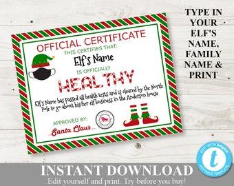 Elf Certificate Etsy