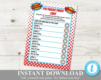 picture regarding Printable Punch Card titled Printable punch card Etsy