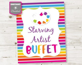Art Party Starving Artist Buffet Sign PRINTABLE PDF Sign 5 x 7 Instant Download Palette Paintbrush Canvas Paint Party Painters
