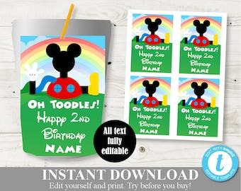 Royal Mickey Juice Box Labels-Custom Juice-Mickey Royal Birthday Party-Printable-Digital-Hi C-Printable Favors-Mickey Mouse-Juice Labels