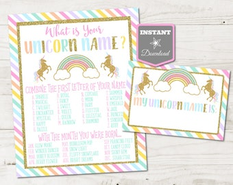 INSTANT DOWNLOAD Printable 8x10 What's Your Unicorn Name Birthday Party Sign and Name Badges / Unicorns & Rainbows Collection / Item #3511