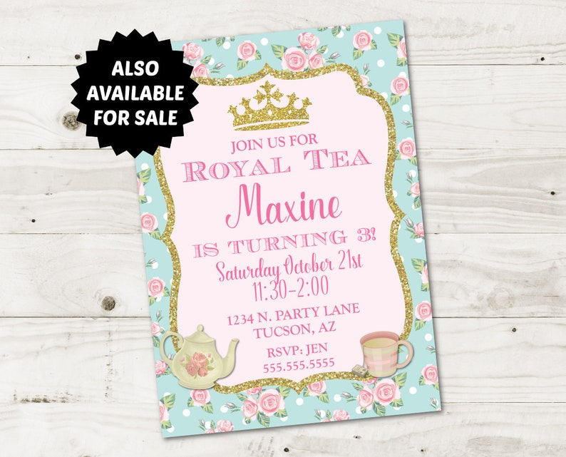 INSTANT DOWNLOAD Printable Princess Tea Party 5x7 Thank You Cards  Type your own text  Princess Tea Party Collection  Item # 2907