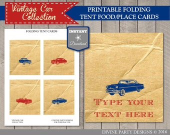 INSTANT DOWNLOAD Vintage Car Folding Tent Cards / Place Cards / Retro / Classic / Vintage Car Collection / Item #1403