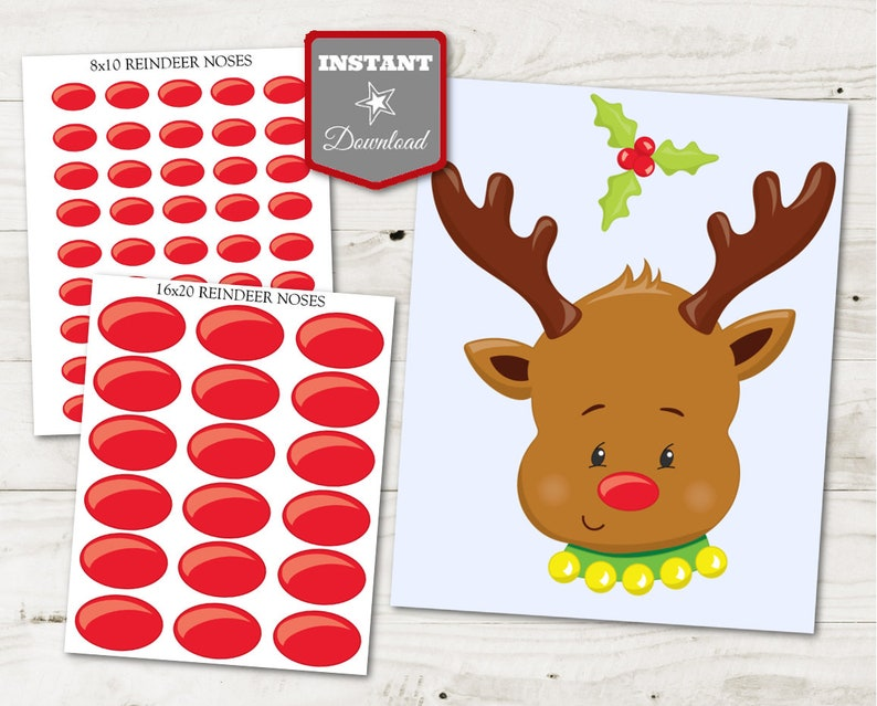 graphic about Pin the Nose on the Reindeer Printable titled Quick Down load Printable Xmas Get together Pin the Nose upon Rudolph Recreation / Cl Small children Occasion / Xmas Retail outlet / Product #3028