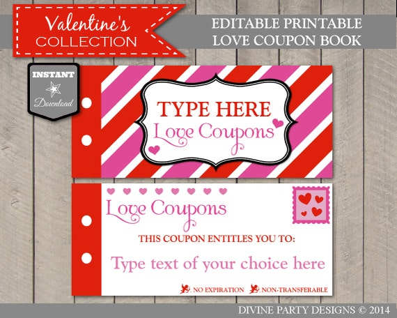 sale instant download editable printable love coupon book type