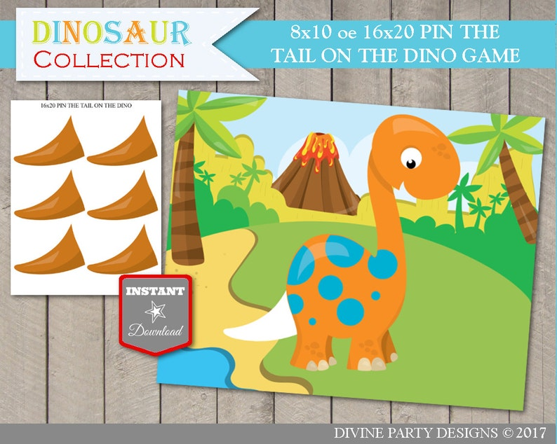 INSTANT DOWNLOAD Printable Pin The Tail On The Dinosaur