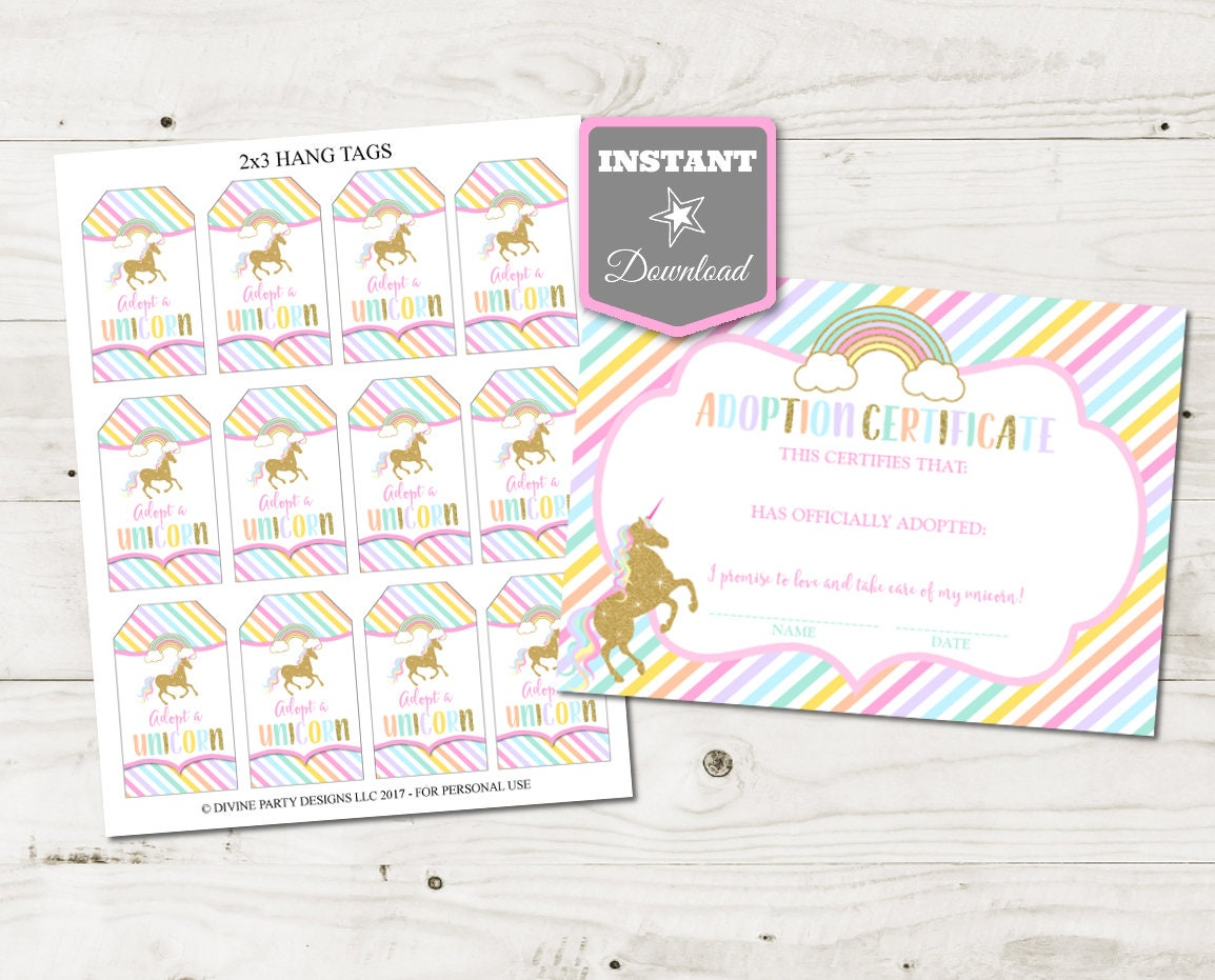 Instant Download Unicorn Printable 2x3 Adopt A Unicorn Hang Etsy