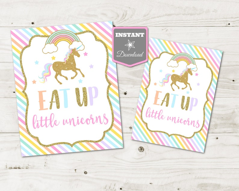 INSTANT DOWNLOAD Unicorn Printable 5x7 and 8x10 Eat Up Little Unicorns  Party Sign / Glitter Unicorn & Rainbows Collection / Item #3543