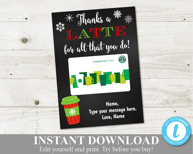 photo relating to Thanks a Latte Christmas Printable identified as Instantaneous Obtain Printable Xmas 5x7 Owing a Latte Espresso Reward Card Holder / Editable - Yourself Design and style Information / Xmas Retail store / Products #3006