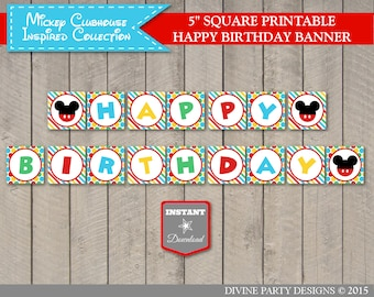 INSTANT DOWNLOAD Mouse Clubhouse Printable Happy Birthday Party Banner / Clubhouse Collection / Item #1648