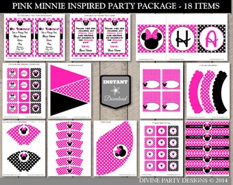 INSTANT DOWNLOAD Hot Pink Mouse Printable Birthday Party Package / Editable / Hot Pink Mouse Collection / Item #1700