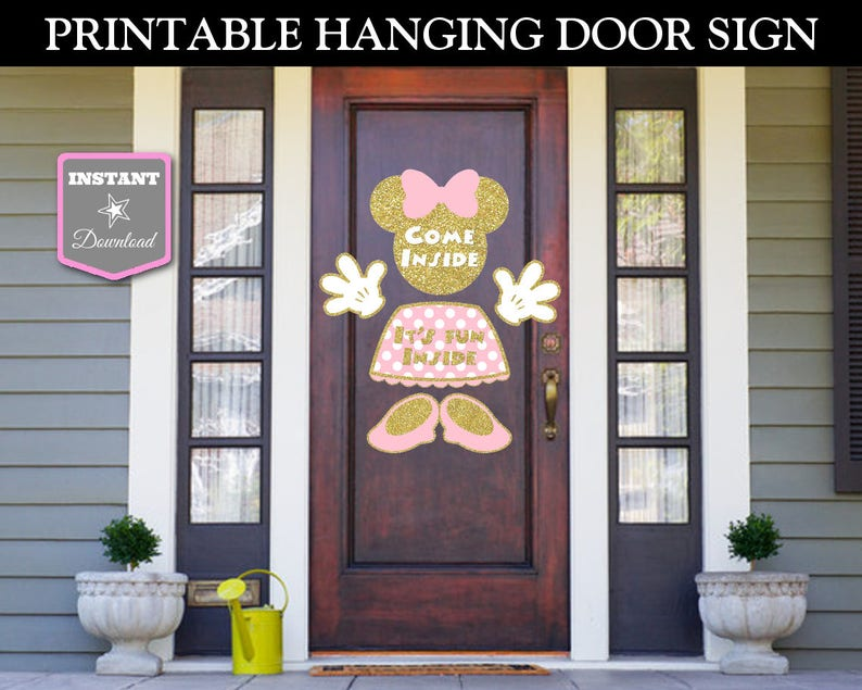 INSTANT DOWNLOAD Printable Glitter Pink and Gold Mouse Hanging Door Sign /  Glitter Mouse Collection / Item #2029