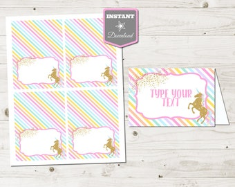INSTANT DOWNLOAD Printable Editable Unicorn Folding Tent Cards / Place Cards / Unicorns & Rainbows Collection / Item #3512