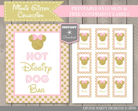 photo regarding Hot Diggity Dog Bar Free Printable known as Prompt Obtain Red Gold Glitter Mouse Printable 8x10