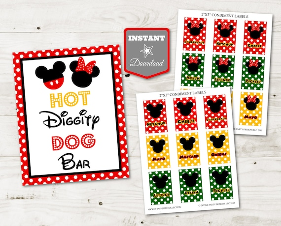photo relating to Hot Diggity Dog Bar Free Printable named Immediate Obtain Mouse Scorching Diggity Pet Bar Printable 5x7 and
