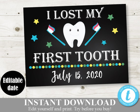 tooth fairy sign. 1st Missing Tooth poster PRINTABLE photo prop chalkboard DIGITAL 1st lost tooth First Lost Tooth Sign