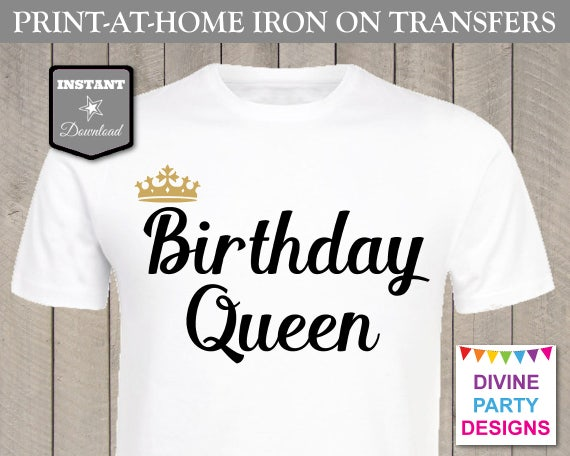 graphic relating to Printable Iron on called Quick Down load Print at House Gold and Black Birthday Queen