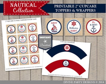 """INSTANT DOWNLOAD Printable Nautical 2"""" Cupcake Toppers and Wrappers / Baby Shower / Nautical Boy Package / Item #608"""