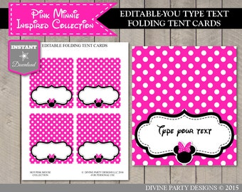 INSTANT DOWNLOAD Editable Hot Pink Mouse Printable Tent Cards / Place Cards / You Type / Hot Pink Mouse Collection / Item #1722