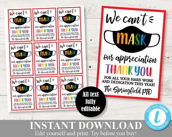 """INSTANT DOWNLOAD Editable 3.5""""x2.5"""" We Can't Mask Our Appreciation Tags / Teacher Appreciation / PTO / Beginning of School"""