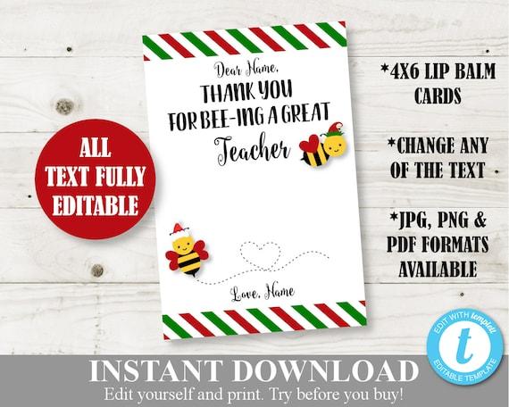 Teacher thank you cardgift card holder bees