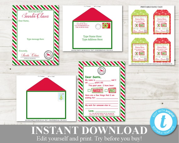 image regarding Printable Santa Envelopes identify Immediate Down load Printable Santa Claus Package deal / Santa