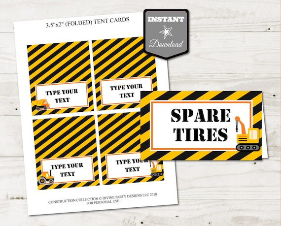 INSTANT DOWNLOAD Printable Construction Trucks Folding Tent or Place Cards /Type Text / Train Collection / Construction Collection #3504