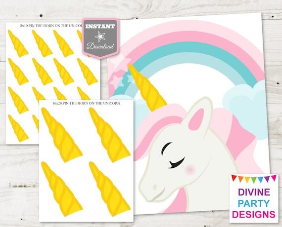 photo regarding Pin the Horn on the Unicorn Printable named Immediate Obtain Unicorn Printable 16x20 Pin the Horn upon the