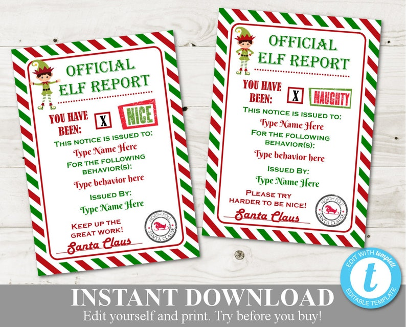 graphic relating to Elf Yourself Printable identified as Instantaneous Obtain Editable Printable Elf 5x7 Naughty and Great Experiments / Signed by way of Santa / Xmas Store / Product #3026