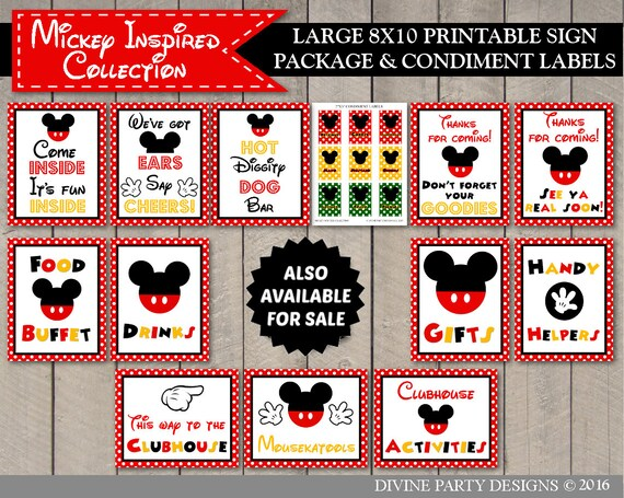 INSTANT DOWNLOAD Printable Mouse Photo Booth Grab a Prop & Strike a Pose  Printable 5x7 and 8x10 Sign / Classic Mouse Collection / Item #1572