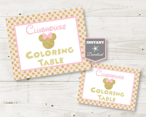 Printable Pink and Gold Glitter Minnie Mouse 5x7 and 8x10 Drinks Party Sign INSTANT DOWNLOAD