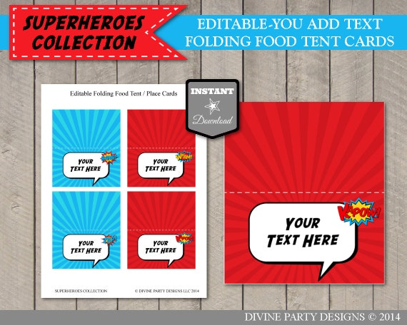INSTANT DOWNLOAD Editable Superhero Folding Food Tent Place Cards