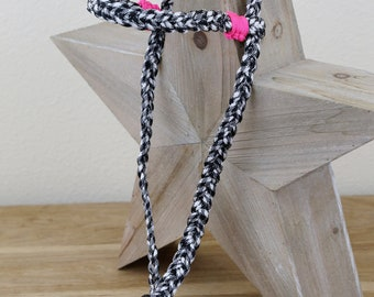6 Strand Braid Bridle with Neon Pink Accents