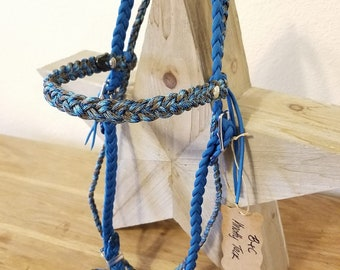6 Strand Bridle - Carribean Blue and Abyss