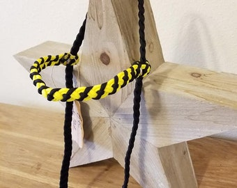 6 Strand Bridle No Throat Latch - Black and Yellow