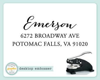 Embosser - EMERSON Style - Desk Model - Personalized Return Address - Embossing Stamp Seal - Wedding Housewarming Gift