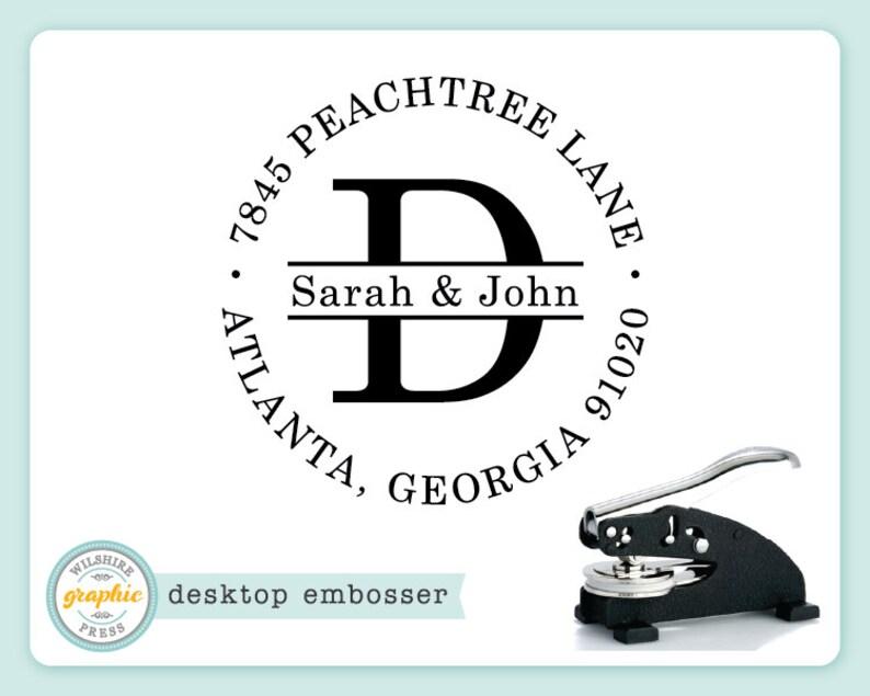 Embosser  JOHN ADDRESS Style  Personalized Name Monogram image 0