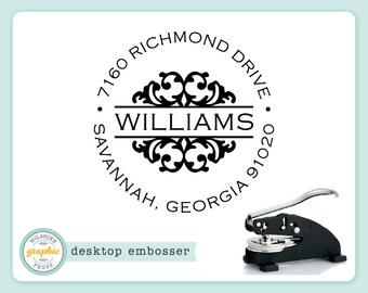 Embosser - WILLIAMS Style - Desk Model - Personalized Return Address - Embossing Stamp Seal - Wedding Housewarming Gift