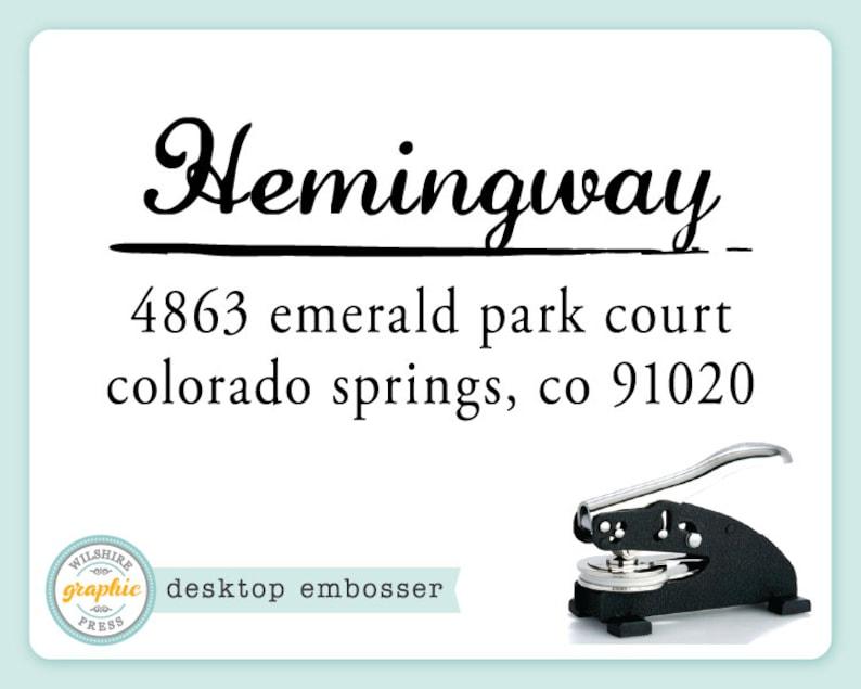 Embosser  HEMINGWAY Style  Desk Model  Personalized Return image 0