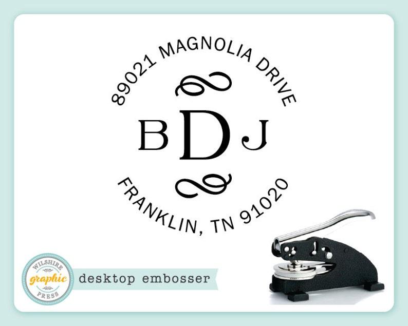 Embosser  FRANKLIN Style  Desk Model  Personalized Monogram image 0