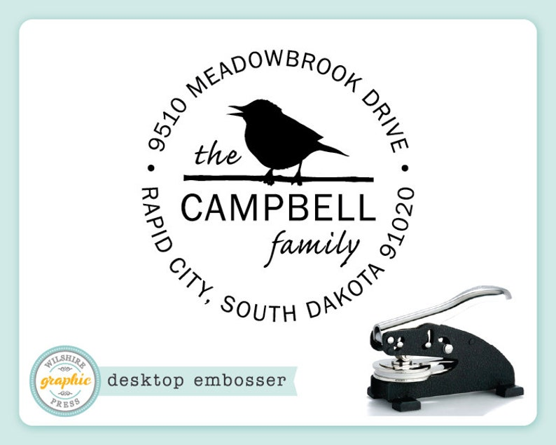 Embosser  CAMPBELL Style  Desk Model  Bird Personalized image 0