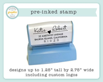 Pre-Inked Stamp - Personalized Stamp - Use for Return Address, Wedding, Logo, or Branding
